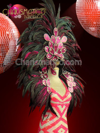 CHARISMATICO Leaf-scale accented fuchsia and black feathered headdress and Collar backpack