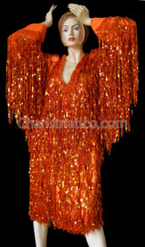 Orange Shiny Fringe long sleeve Dress