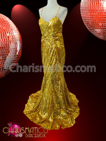 CHARISMATICO Long Golden glittery sequin Drag Queen Diva Pageant mermaid gown