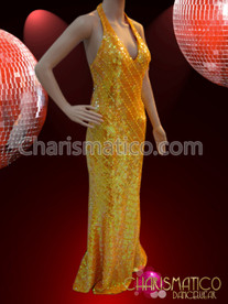 CHARISMATICO Diagonal patterned Golden Orange sequined Diva Drag Queen pageant gown