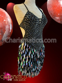 CHARISMATICO Black Sequin Diva's dress with silver bead-work and sequin fringe