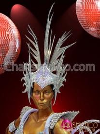 CHARISMATICO Diva's Roman Helmet styled Silver glitter mirror covered Mohawk Headdress