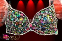 CHARISMATICO Sexy Rhinestone edged, black, darkly Iridescent beaded crystal showgirl's bra