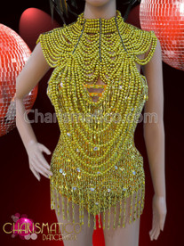 CHARISMATICO Classic Yellow big showgirl Necklace, beaded leotard and matching headdress