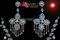 CHARISMATICO Stud style Delicate rhinestone and iridescent crystal cross chandelier earrings