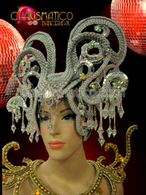 Exotic Rhinestone crystal embellished beaded silver woven snake inspired headdress