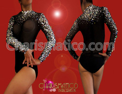 Crystal embellished black long sleeve mockneck leotard style body stocking