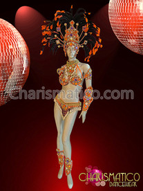 Orange Samba costume and Headdress with white and purple accents