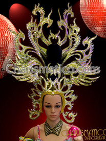 Large mirror tiled Dragon like golden glitter and crystal headdress