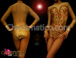 """Nude illusion dance Showgirl leotard with gold sequin """"corset"""" and """"cuffs"""""""