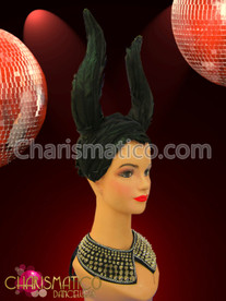 "Black feather covered ""horn"" style Diva Showgirl drag queen headdress"