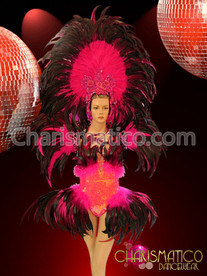 Matching fuchsia Headdress, collar, and feather accented sequin dance leotard