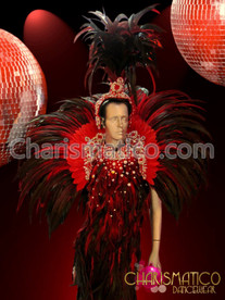 CHARISMATICO Crystal accented Dark red feathered gown, collar, and headdress set