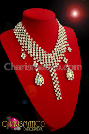 Lush 6 strand rhinestone v-shaped necklace with Iridescent crystal dangles