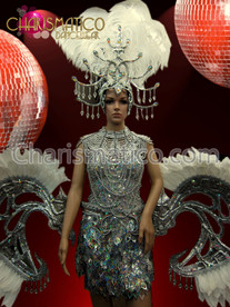 Silver and White Cabaret costume dress, headdress, belt and necklace