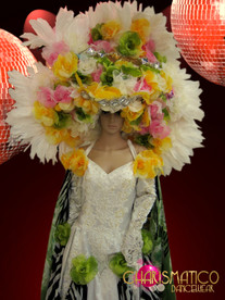 Large White, pink, green and Yellow spring Flower Bridal Headdress