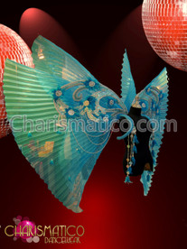 Double layer pleated shimmery Organza Light Blue Cabaret Diva's Wing