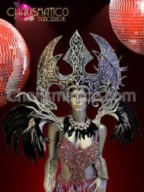 Silver Diva wing headdress and black feather accented collar backpack
