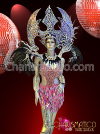CHARISMATICO Silver Diva wing headdress and black feather accented collar backpack