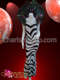 Black and white zebra patterned sequined Drag Queen Pageant gown