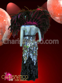Silver and Black sequin Pageant gown with fuchsia feathered backpack