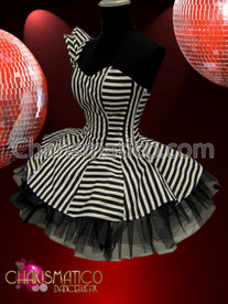 CHARISMATICO One shoulder Black and white stripe Gothic ruffle Dollie dress