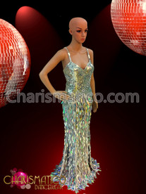 Dramatic Silver sequin Pageant gown with iridescent diamond sequin Fringe