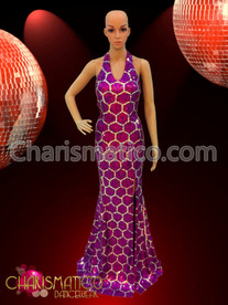 Diva Drag Queen Swanky honeycomb pattern Fuchsia sequin pageant gown