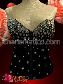 Short waisted Crystal rhinestone accented sleek Black Diva showgirl Corset