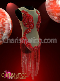Sexy nude illusion beaded and sequin red appliqué fringe Dress