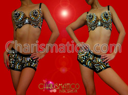 CHARISMATICO Multiple Metal spiked and crystal accented Bra and matching Boy-shorts