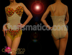 Bikini Illusion red and gold appliqué leotard with beaded fringe