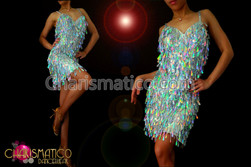 Glittery Silver Latin Dance Dress with Iridescent teardrop sequin fringes