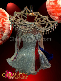 Red, White, and Blue 4th of July Veteran accented Diva's Silver sequin Costume set