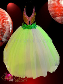 CHARISMATICO Fairy princess Petal pink sequin cutout and leaf green full skirt gown