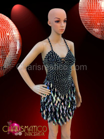 Classic Sequin halter style Latin Dance Dress in metallic black