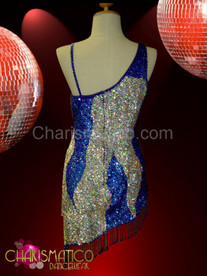 Fringed Hem Asymmetrical royal blue and silver sequined dance dress