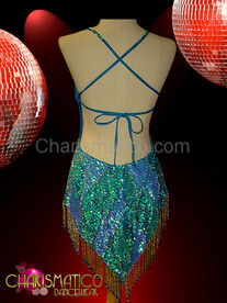 Classic Sequined Latin Dance dress with Halter fit and patchwork pattern