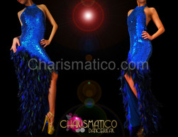 High neck royal blue sequined pageant gown with feathered skirt