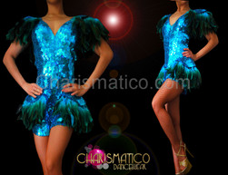 Metallic Sky blue feather accented sequin Diva dance hip short catsuit