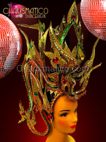 Golden Hindi style headdress adorned with green sequins, rubies and mirrors