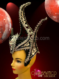 spiked Black and silver glitter cap headdress with crystal accents