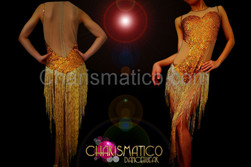 Illusion corset cutout gold sequin dress with beaded fringe skirt