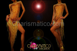 CHARISMATICO Illusion corset cutout gold sequin dress with beaded fringe skirt