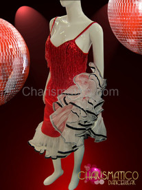 Red satin dress with fringed top and white organza ruffles