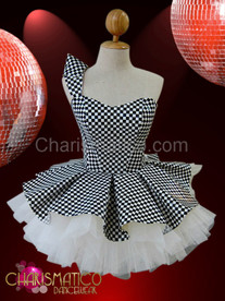 Asymmetrical Black and white Chess check vinyl Gothic Dollie Dress