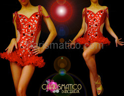 Exotic Cut out illusion red crystal bejeweled hip-ruffle dance leotard