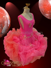 Slinky hot pink scoop neck dress with clouds of iridescent organza