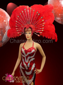 Showgirl Red ostrich plume headdress with silver mirror and iridescent crystal