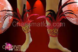 Carnival Samba styled Gold accented red and black feathered anklets